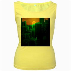 Green Building City Night Women s Yellow Tank Top