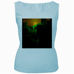 Green Building City Night Women s Baby Blue Tank Top