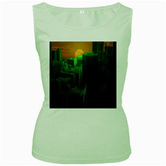 Green Building City Night Women s Green Tank Top