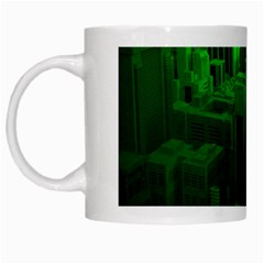 Green Building City Night White Mugs