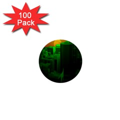 Green Building City Night 1  Mini Buttons (100 pack)