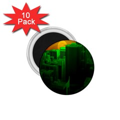 Green Building City Night 1.75  Magnets (10 pack)