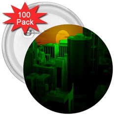 Green Building City Night 3  Buttons (100 pack)