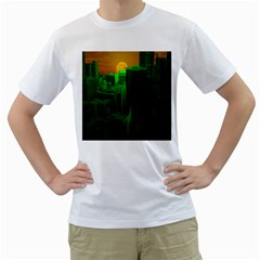 Green Building City Night Men s T-Shirt (White) (Two Sided)