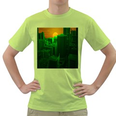 Green Building City Night Green T-Shirt