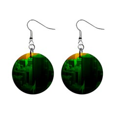 Green Building City Night Mini Button Earrings