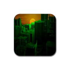 Green Building City Night Rubber Square Coaster (4 pack)