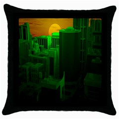 Green Building City Night Throw Pillow Case (Black)