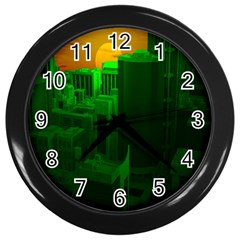 Green Building City Night Wall Clocks (Black)
