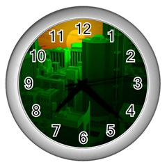 Green Building City Night Wall Clocks (Silver)