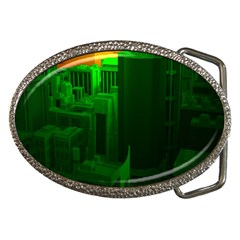 Green Building City Night Belt Buckles