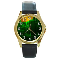 Green Building City Night Round Gold Metal Watch