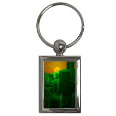 Green Building City Night Key Chains (Rectangle)
