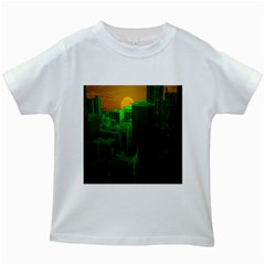 Green Building City Night Kids White T-Shirts