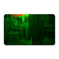 Green Building City Night Magnet (Rectangular)