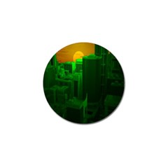 Green Building City Night Golf Ball Marker