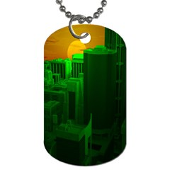 Green Building City Night Dog Tag (Two Sides)