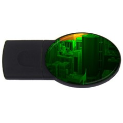 Green Building City Night USB Flash Drive Oval (2 GB)