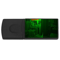 Green Building City Night USB Flash Drive Rectangular (2 GB)