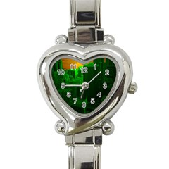Green Building City Night Heart Italian Charm Watch