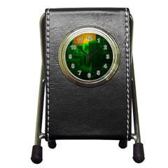 Green Building City Night Pen Holder Desk Clocks