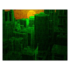 Green Building City Night Rectangular Jigsaw Puzzl