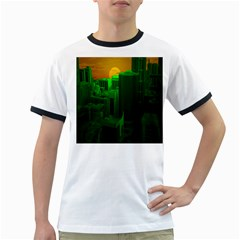 Green Building City Night Ringer T-Shirts