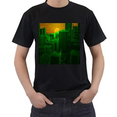 Green Building City Night Men s T-Shirt (Black) (Two Sided)