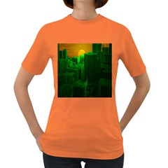 Green Building City Night Women s Dark T-Shirt