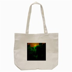 Green Building City Night Tote Bag (Cream)