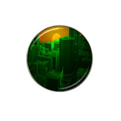 Green Building City Night Hat Clip Ball Marker