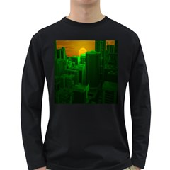 Green Building City Night Long Sleeve Dark T-Shirts