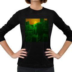 Green Building City Night Women s Long Sleeve Dark T-Shirts