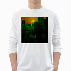 Green Building City Night White Long Sleeve T-Shirts