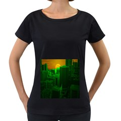 Green Building City Night Women s Loose-Fit T-Shirt (Black)