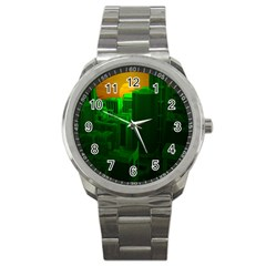 Green Building City Night Sport Metal Watch