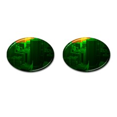 Green Building City Night Cufflinks (Oval)