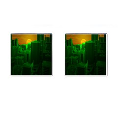 Green Building City Night Cufflinks (Square)