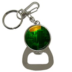 Green Building City Night Bottle Opener Key Chains