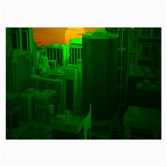 Green Building City Night Collage Prints