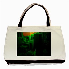 Green Building City Night Basic Tote Bag