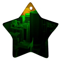 Green Building City Night Star Ornament (Two Sides)