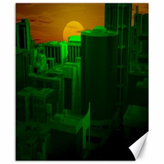 Green Building City Night Canvas 8  x 10