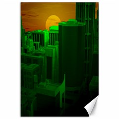 Green Building City Night Canvas 12  x 18