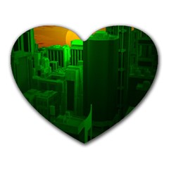 Green Building City Night Heart Mousepads