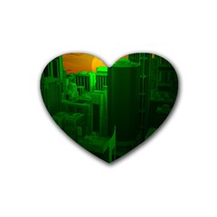 Green Building City Night Rubber Coaster (Heart)