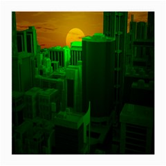 Green Building City Night Medium Glasses Cloth