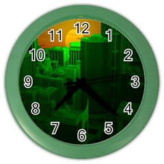 Green Building City Night Color Wall Clocks