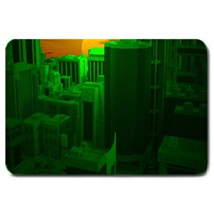 Green Building City Night Large Doormat