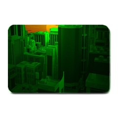 Green Building City Night Plate Mats